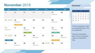 Monthly Calendar 2019 Template November