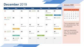 Monthly Calendar 2019 Template December