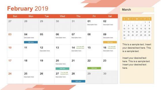 February PowerPoint Calendar 2019
