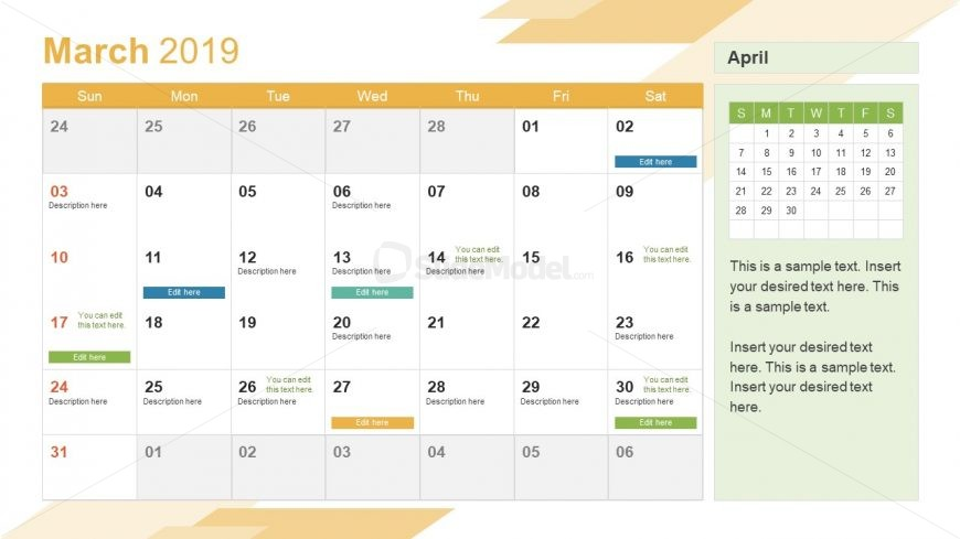 Monthly Calendar 2019 Template March