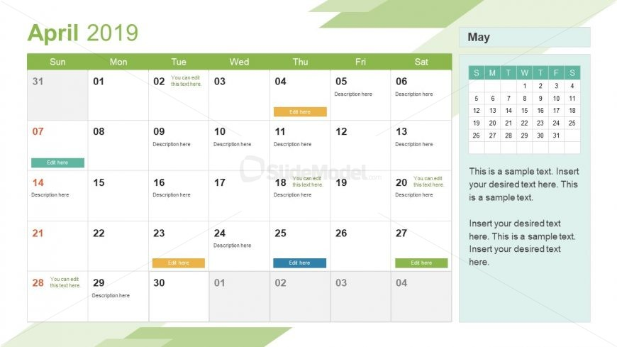 Monthly Calendar 2019 Template April