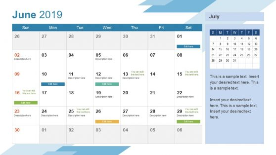 June PowerPoint Calendar 2019