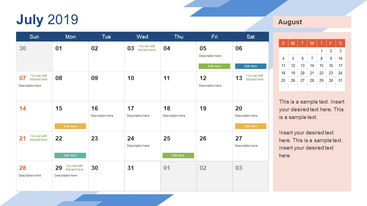Powerpoint Calendar Template 2019 July PowerPoint Calendar 2019   SlideModel