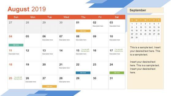 August PowerPoint Calendar 2019