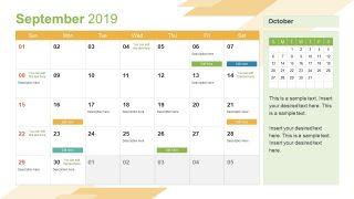 Monthly Calendar 2019 Template September