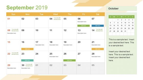 September PowerPoint Calendar 2019
