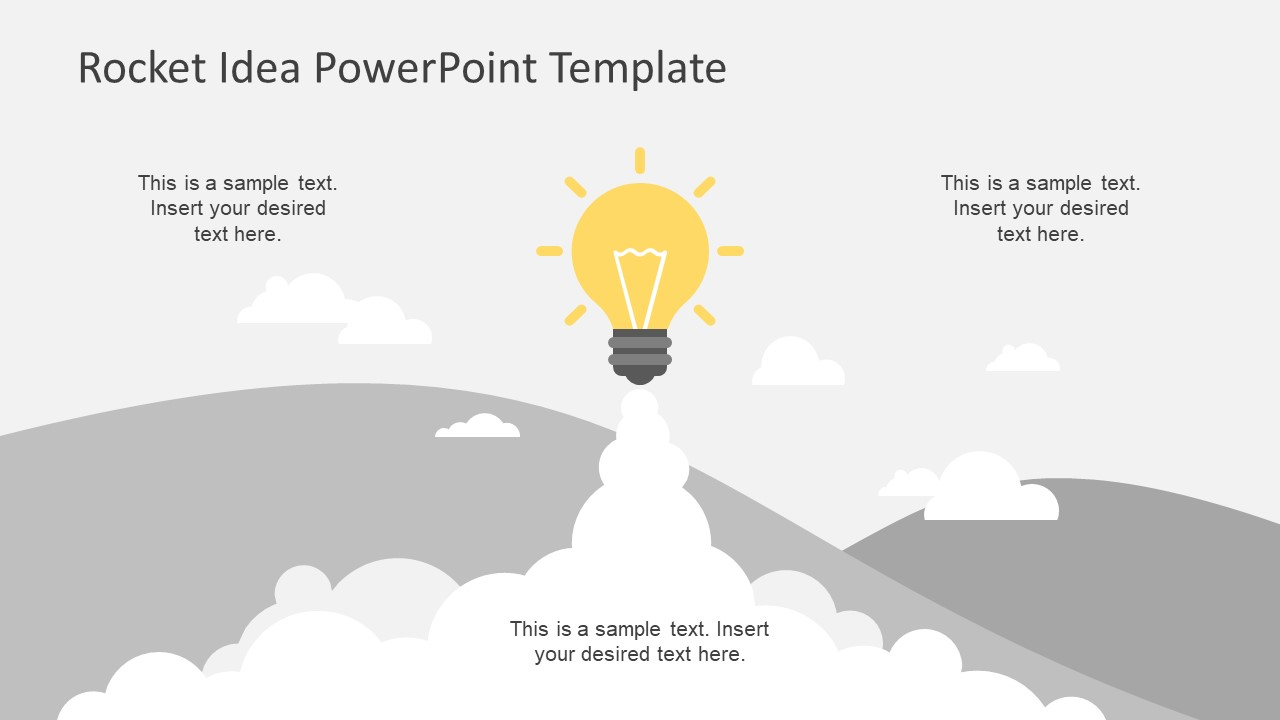 Rocket Launch Lighbulb Idea PowerPoint