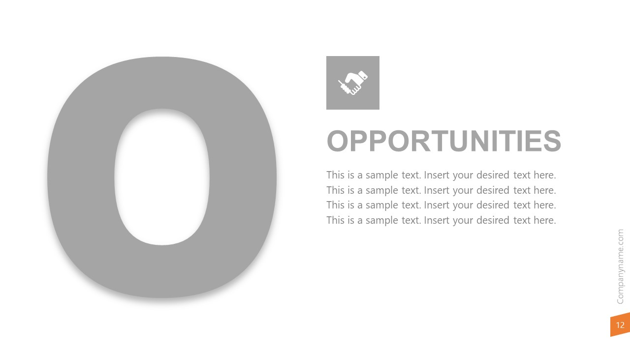 Template of Opportunities on SWOT