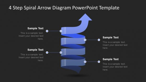 PowerPoint Arrow Spiral 4 Steps Diagram
