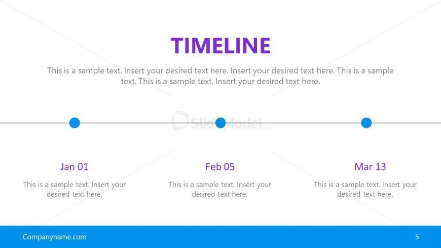 3 Steps Horizontal Timeline PPT