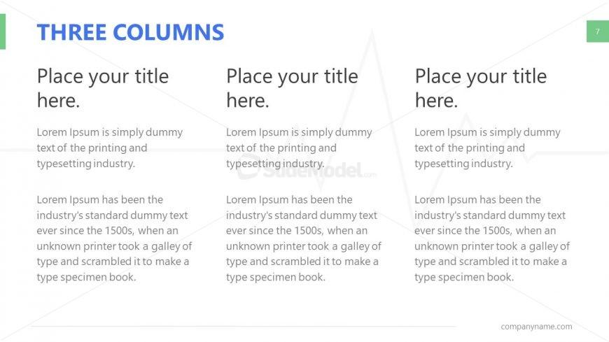 3 Column Comparison Table Slide