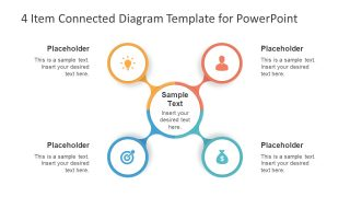 4 Item Connected Diagram Template for PowerPoint