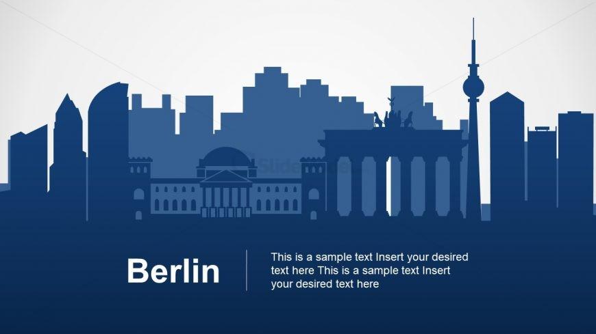 Silhouette Map of Berlin Skyline