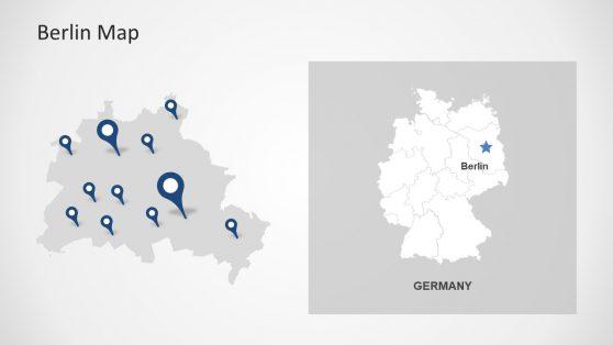 Gray Map of Berlin PowerPoint