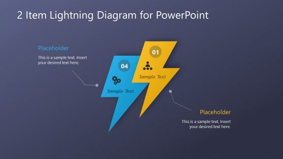 PowerPoint Diagrams 2 Steps Lightning
