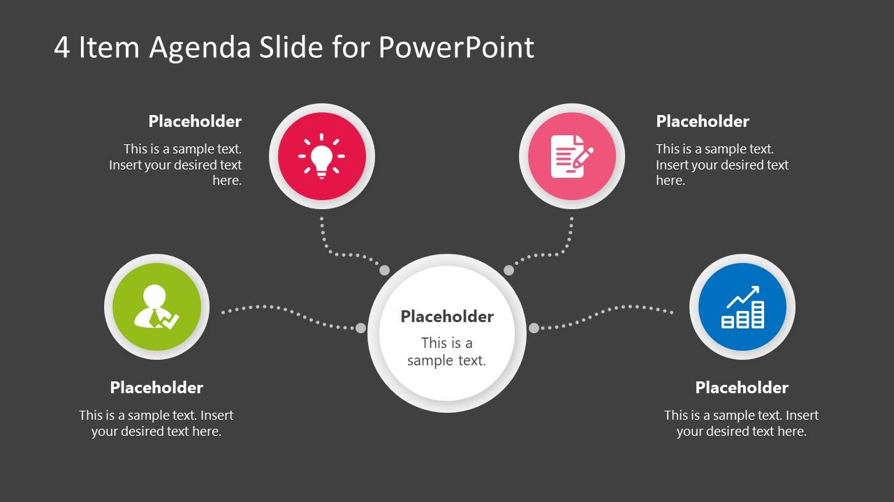 Agenda >> 4 Item Agenda Slide Design For Powerpoint Slidemodel