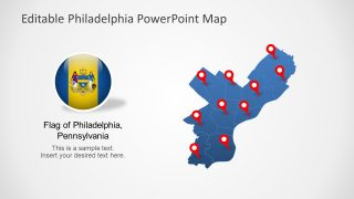 US Editable Map Philadelphia Flag