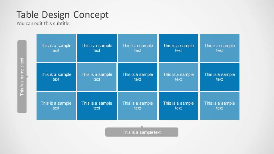 Table design concept for powerpoint slidemodel for Table design presentation