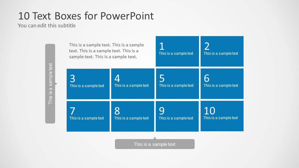 10 text boxes with numbers for powerpoint