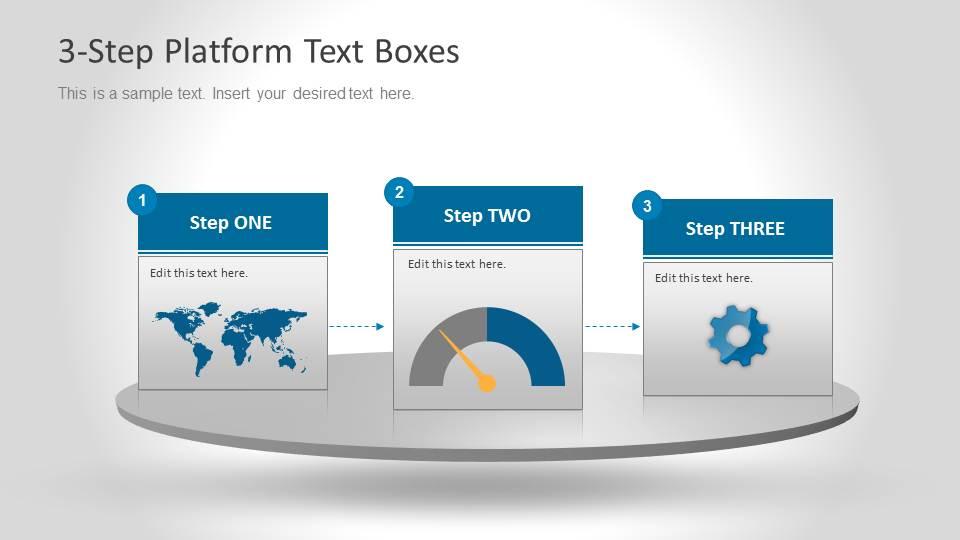 3 Steps Platform with World Map, Chart and Gear Slide Design