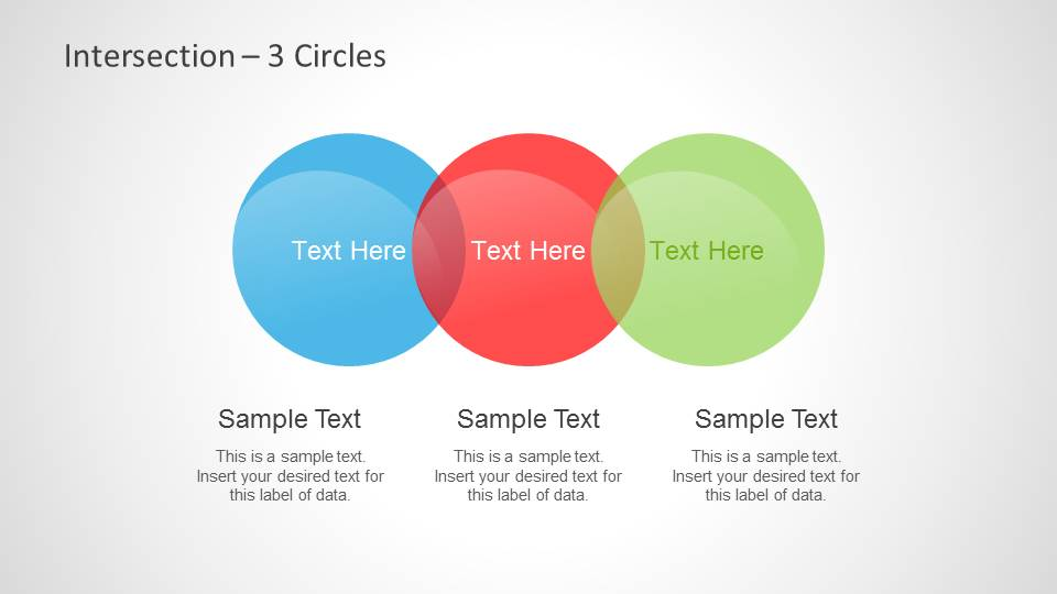 colorful intersected circles venn diagrams for powerpoint