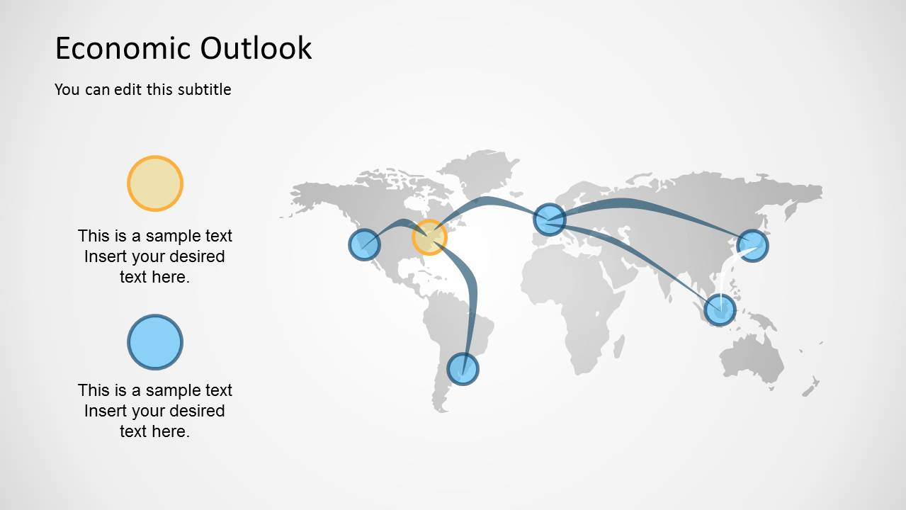 Economic outlook powerpoint template slidemodel global economy outlook map for powerpoint economic world map template alramifo Gallery