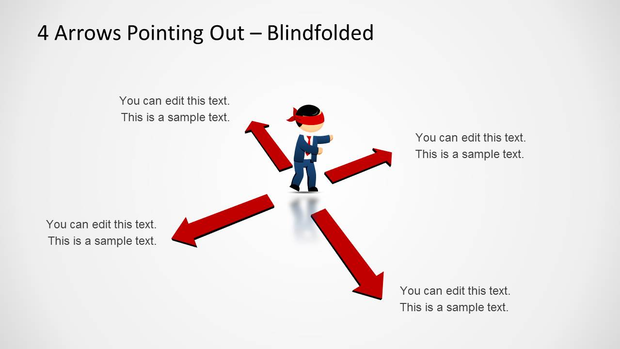 4 Arrows Pointing Out Template For Powerpoint Slidemodel