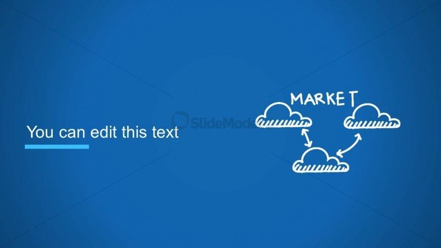 Clouds Diagram Slide Design With Market Word For Powerpoint Slidemodel
