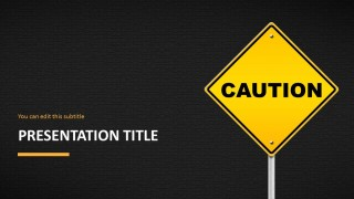 Caution Road Sign Powerpoint Template Slidemodel