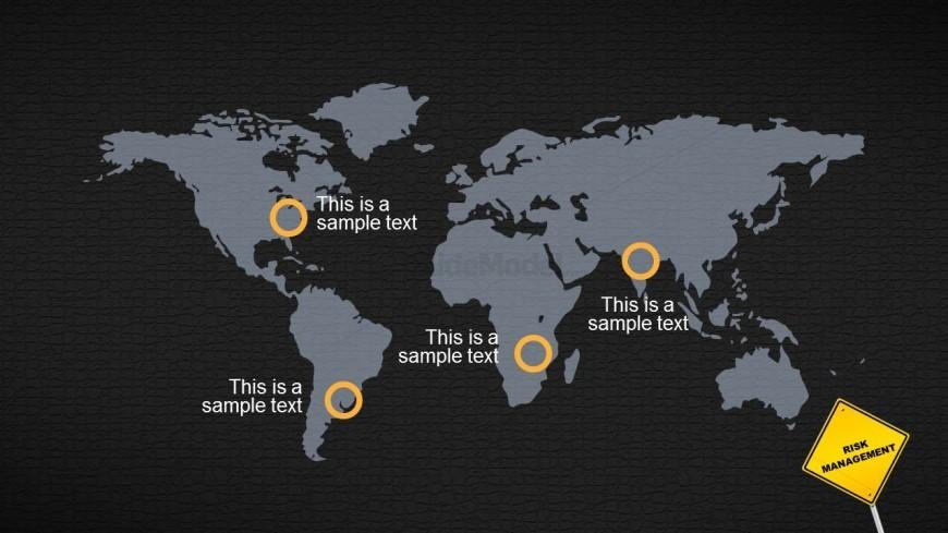 Global World Map Slide Design over Dark Background