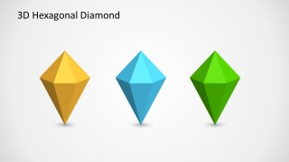 3D Hexagonal Diamond Shapes Aligned Horizontally