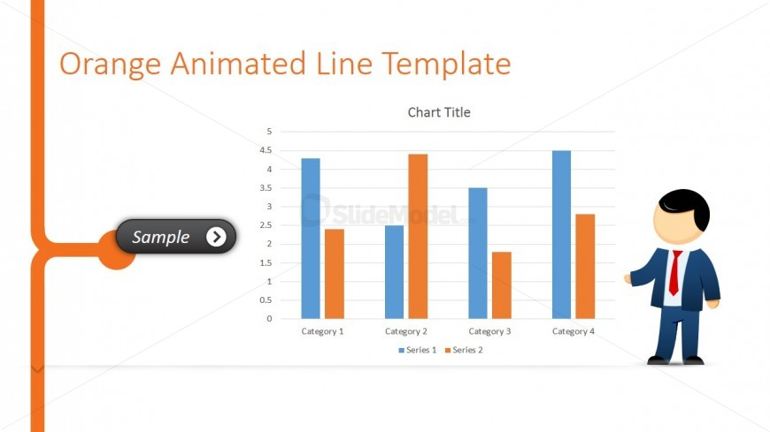 Male Cartoon Presenting A Bar Chart In Powerpoint - Slidemodel