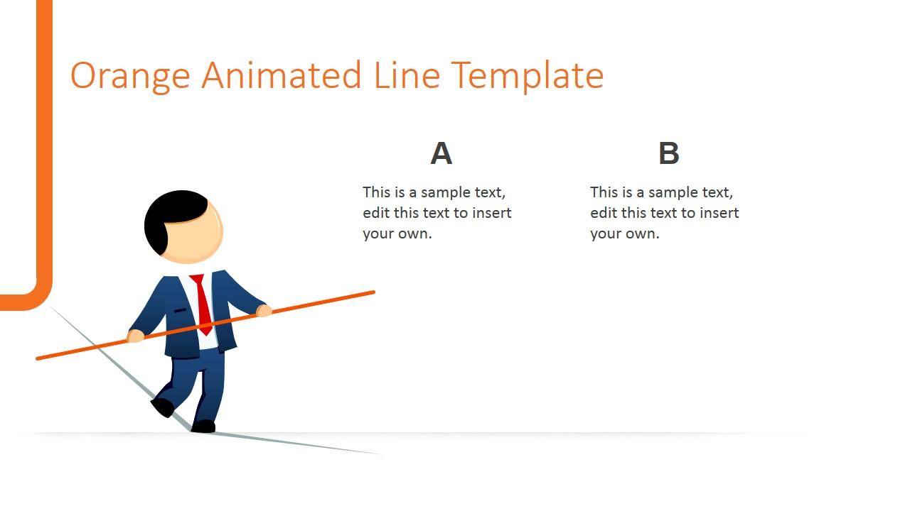 Animated orange line powerpoint template slidemodel powerpoint comparison slide with male cartoon walking a tightrope toneelgroepblik Images