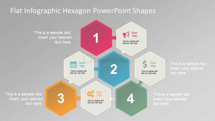 8 Hexagonal shapes with flat infographic design and PowerPoint Business Icons.