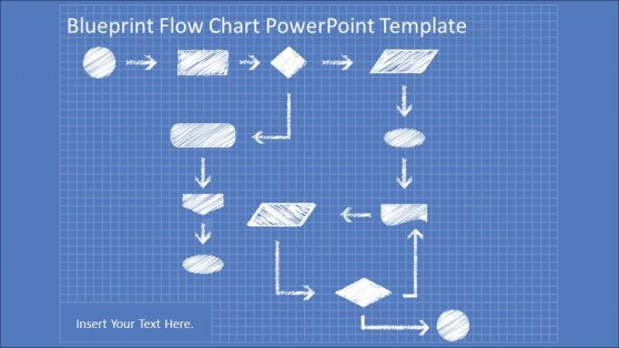 Hand Draw Flowchart In Blueprint PowerPoint Theme