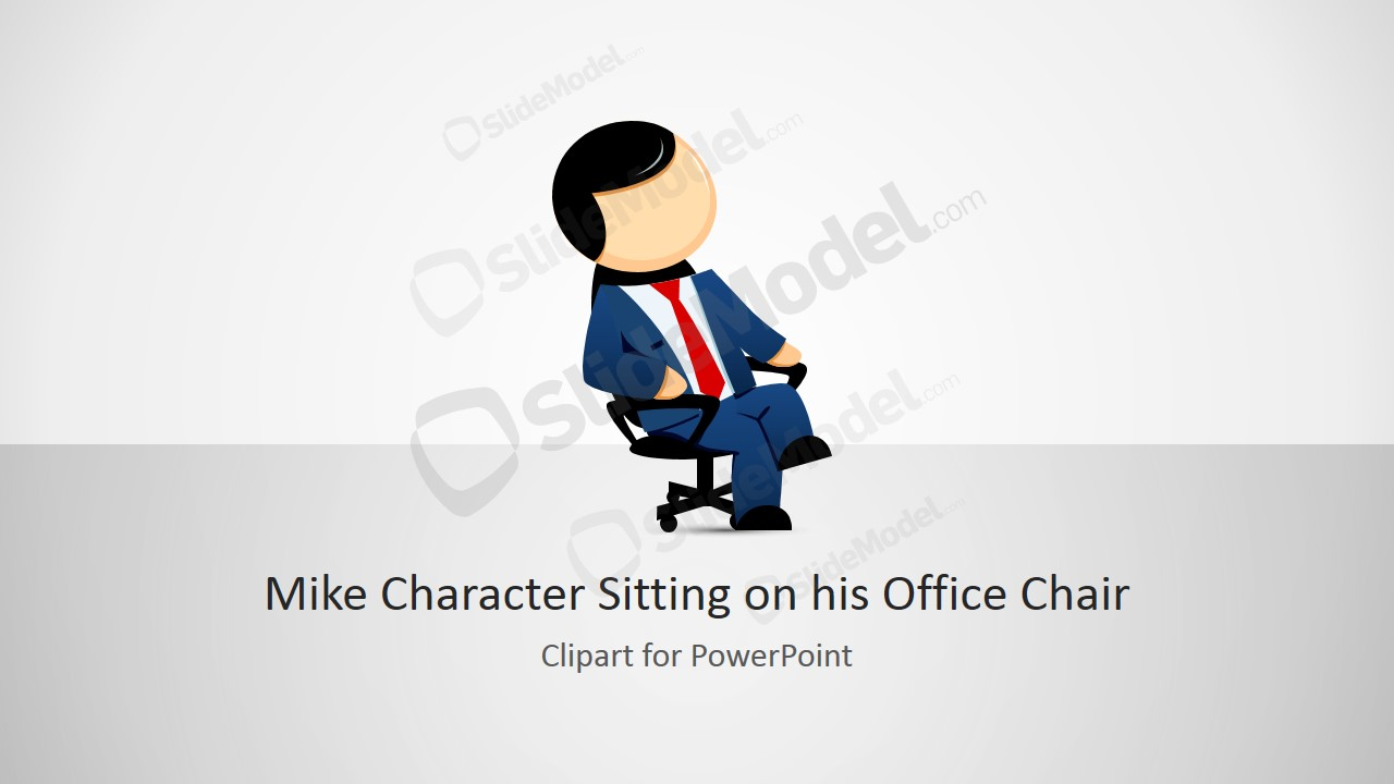 Mike Male Cartoon Sitting On His Office Chair Clipart