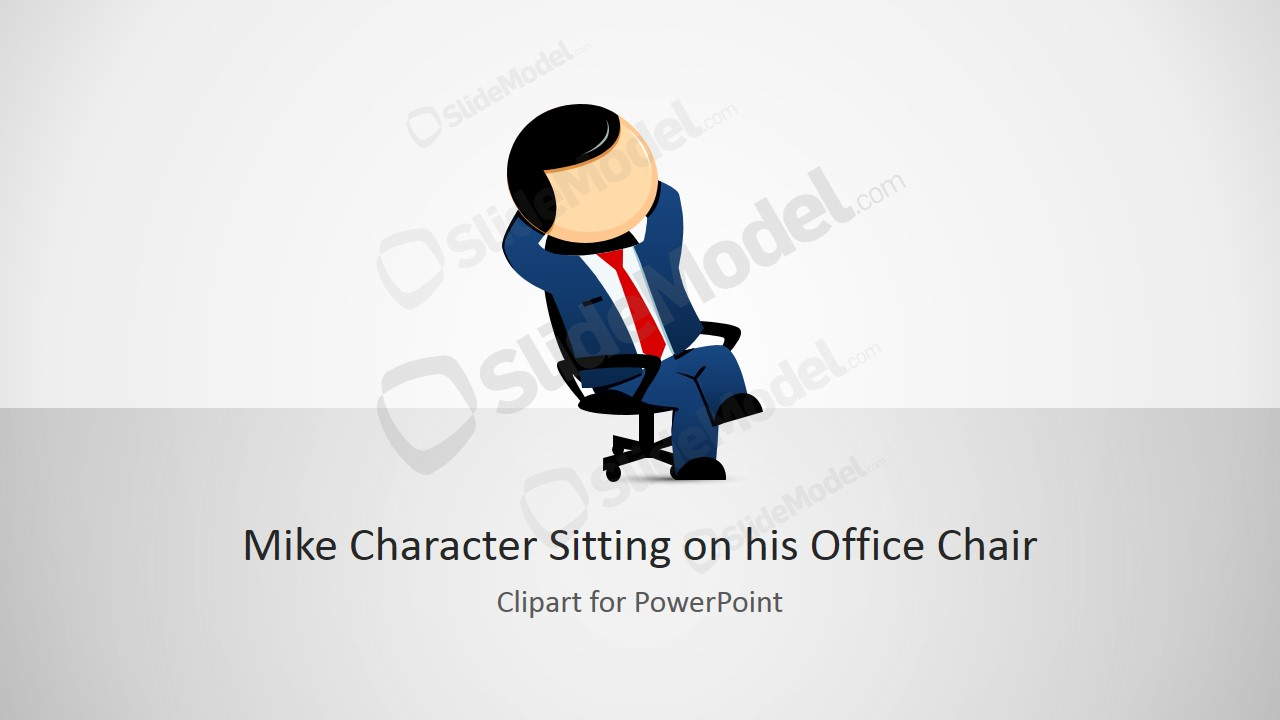 Mike Relaxing Cartoon Character for PowerPoint
