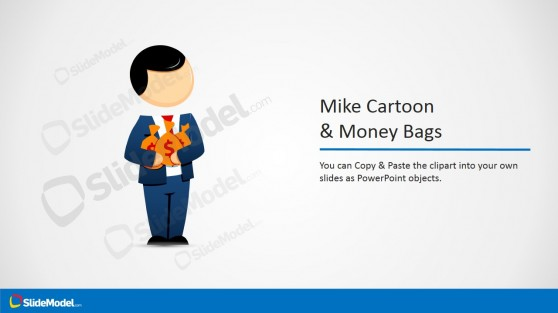 Businessman Cartoon Vector with Money Bags