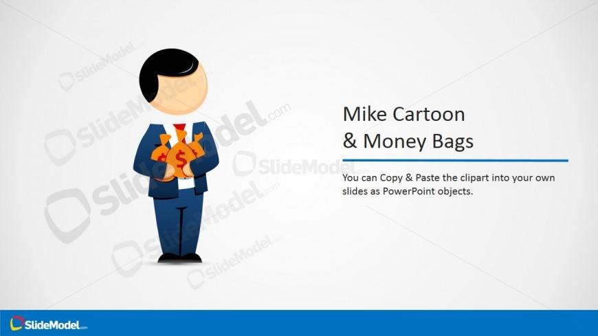 Businessman Cartoon Vector with Money Bags