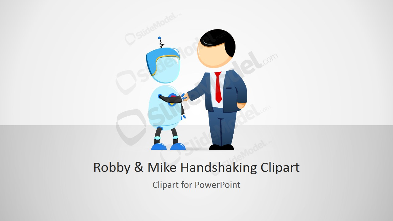Robot & Male Cartoon Handshaking Clipart Robby and Mike for PowerPoint