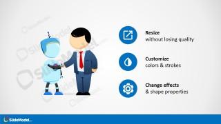 PowerPoint Template Handshaking Metaphor Between Robot and Business Executive.