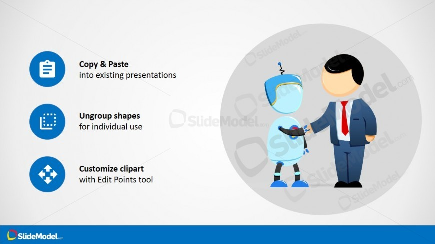 Robot & Male Cartoon Handshaking Picture