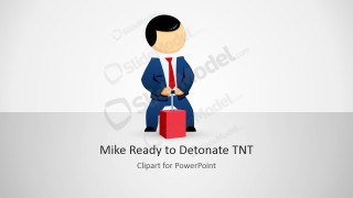 Mike Cartoon Character Detonating a TNT