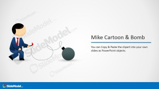 Mike Cartoon Character Clipart Igniting a Bomb