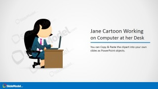 Jane Female Cartoon Clipart Working on her Computer