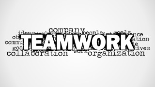 Teamwork Picture for PowerPoint with Tag Cloud