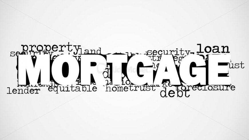 PowerPoint Word Cloud Featuring Mortgage Concept