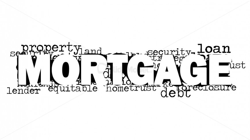 PowerPoint Mortgage Word Cloud with White Background Design