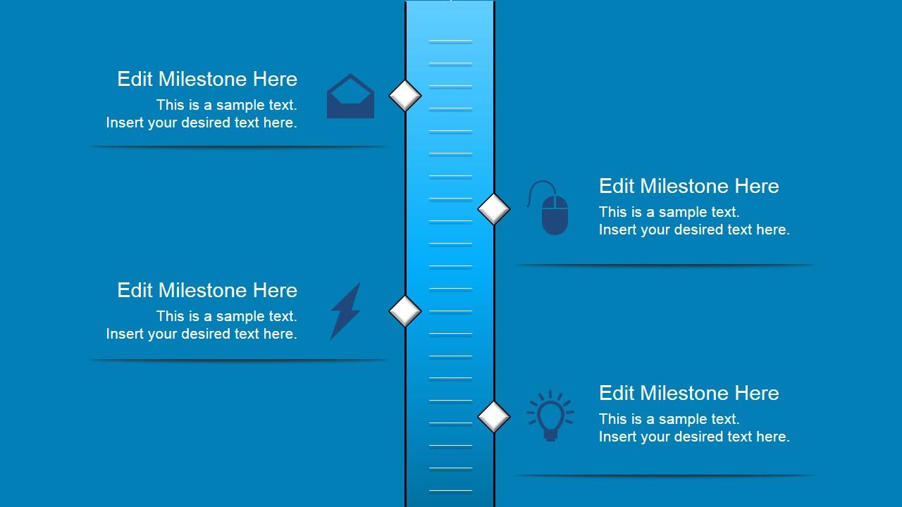 vertical timeline with 4 milestones