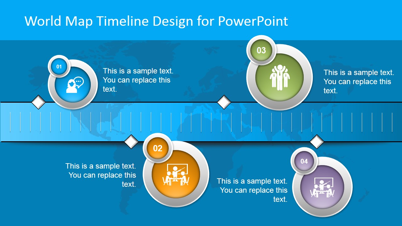 world map horizontal timeline slide for powerpoint